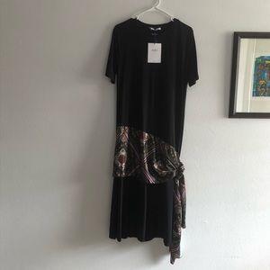 ZARA Basic Dress, black and print, Sz L
